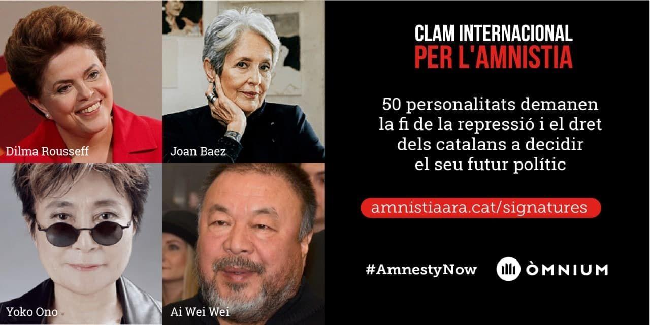Cinquanta personalitats internacionals reclamen l'amnistia en un manifest  impulsat per Òmnium - Òmnium Cultural